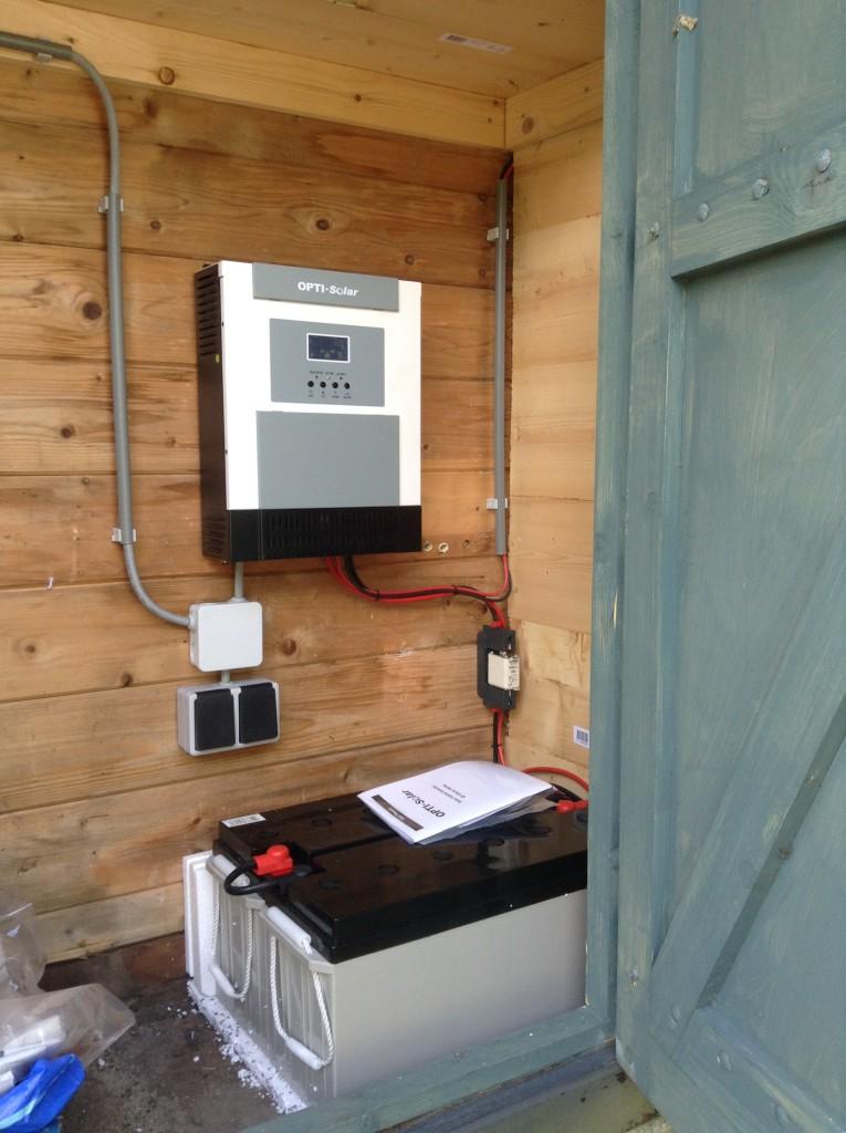 Vakantiehuis of tuinhuis (volkstuin) off-grid systeem